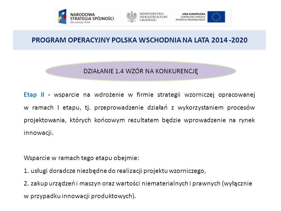 PROGRAM OPERACYJNY POLSKA WSCHODNIA NA LATA 2014 -2020 DZIAŁANIE 1.4 WZÓR NA KONKURENCJĘ Etap II - wsparcie na wdrożenie w firmie strategii wzorniczej opracowanej w ramach I etapu, tj.