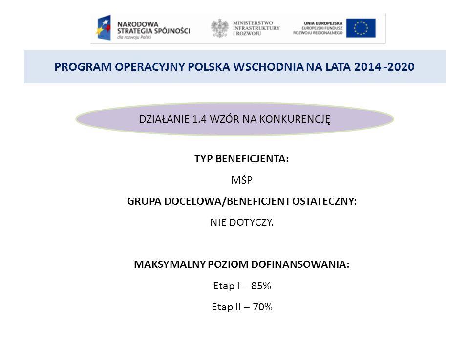 PROGRAM OPERACYJNY POLSKA WSCHODNIA NA LATA 2014 -2020 DZIAŁANIE 1.4 WZÓR NA KONKURENCJĘ TYP BENEFICJENTA: MŚP GRUPA DOCELOWA/BENEFICJENT OSTATECZNY: NIE DOTYCZY.