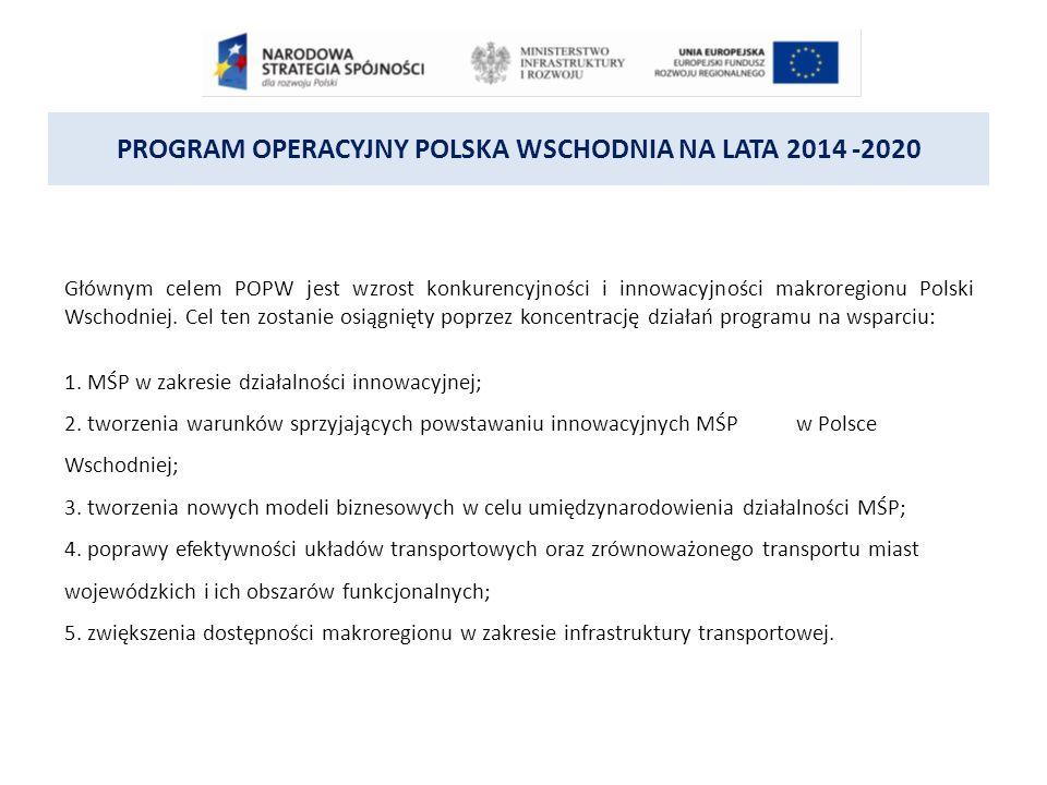 PROGRAM OPERACYJNY POLSKA WSCHODNIA NA LATA 2014 -2020 W ramach POPW przewiduje się trzy merytoryczne osie priorytetowe oraz jedną oś dedykowaną działaniom w zakresie pomocy technicznej na rzecz całego POPW.