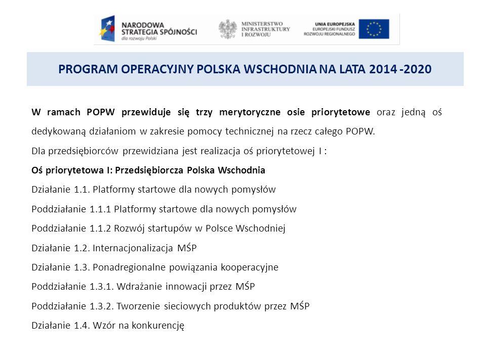 PROGRAM OPERACYJNY POLSKA WSCHODNIA NA LATA 2014 -2020 DZIAŁANIE 1.2 INTERNACJONALIZACJA MŚP II etap – w ramach tego etapu wsparcie ukierunkowane zostanie na zapewnienie MŚP dostępu do usług doradczych oraz zakup wartościniematerialnych i prawnych związanych z przygotowaniem do wdrożenia opracowanego na I etapie modelu biznesowego obejmujących m.in.: 1.