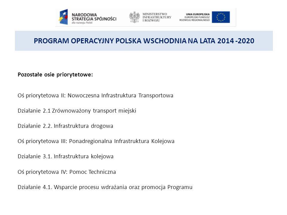 PROGRAM OPERACYJNY POLSKA WSCHODNIA NA LATA 2014 -2020 Pozostałe osie priorytetowe: Oś priorytetowa II: Nowoczesna Infrastruktura Transportowa Działanie 2.1 Zrównoważony transport miejski Działanie 2.2.