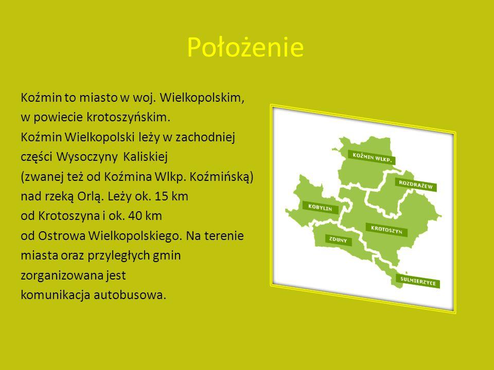 Położenie Koźmin to miasto w woj.Wielkopolskim, w powiecie krotoszyńskim.