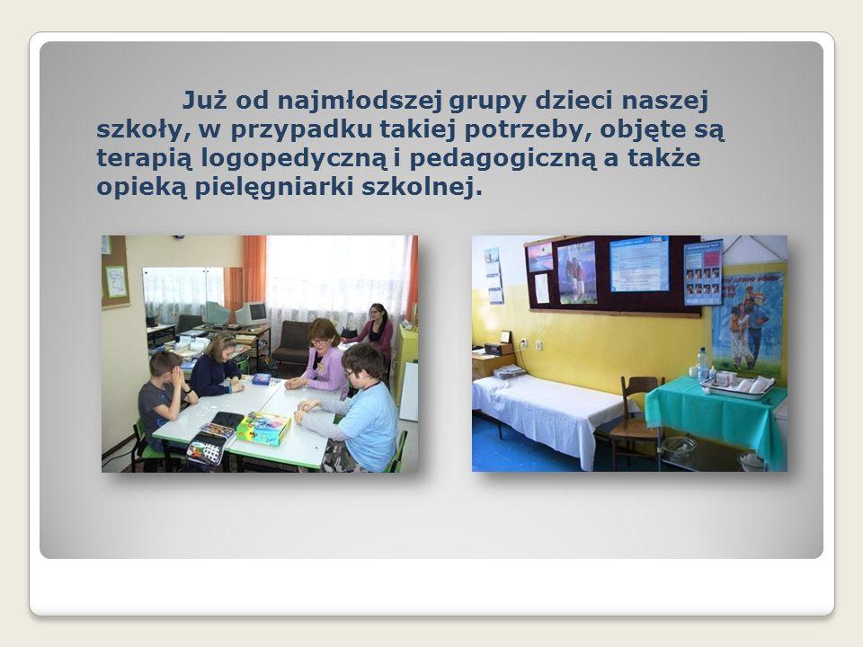 Już od najmłodszej grupy dzieci naszej szkoły, w przypadku takiej potrzeby, objęte są terapią logopedyczną i pedagogiczną a także opieką pielęgniarki szkolnej.