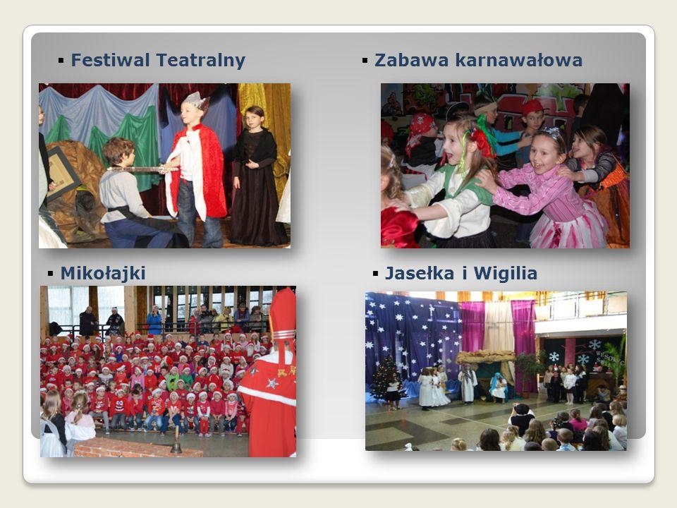  Festiwal Teatralny  Zabawa karnawałowa  Mikołajki  Jasełka i Wigilia