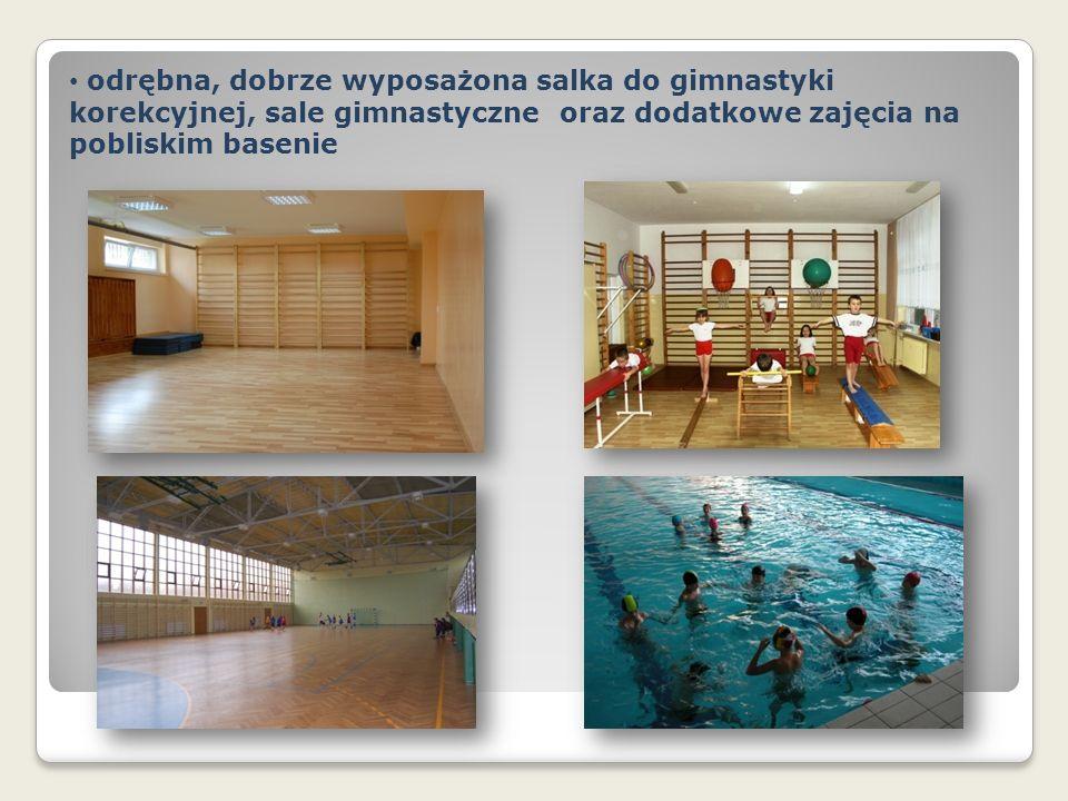 odrębna, dobrze wyposażona salka do gimnastyki korekcyjnej, sale gimnastyczne oraz dodatkowe zajęcia na pobliskim basenie