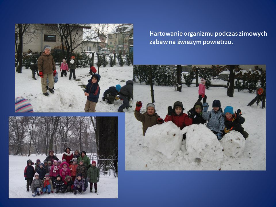 Hartowanie organizmu podczas zimowych zabaw na świeżym powietrzu.