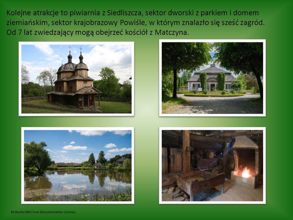 Kolejne atrakcje to piwiarnia z Siedliszcza, sektor dworski z parkiem i domem ziemiańskim, sektor krajobrazowy Powiśle, w którym znalazło się sześć zagród.