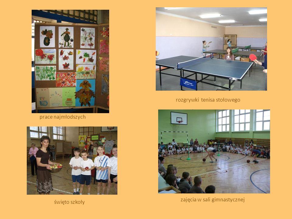 prace najmłodszych święto szkoły zajęcia w sali gimnastycznej rozgrywki tenisa stołowego