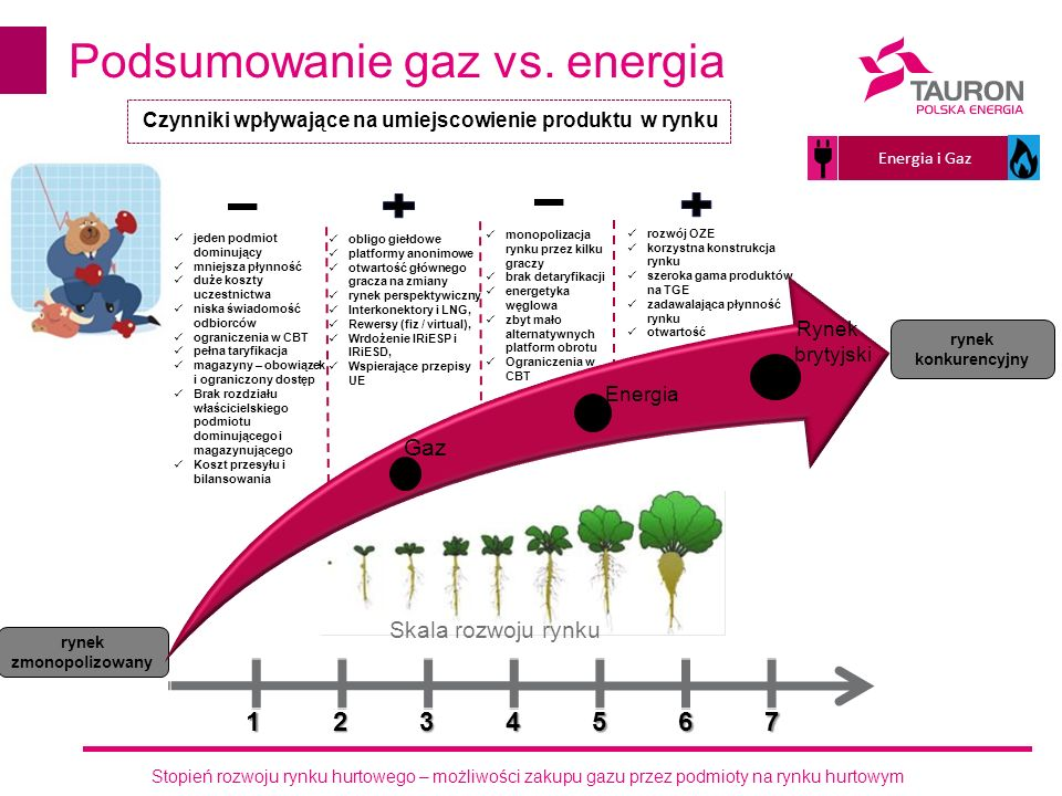 Stopień rozwoju rynku hurtowego – możliwości zakupu gazu przez podmioty na rynku hurtowym Podsumowanie gaz vs. energia rynek zmonopolizowany rynek kon