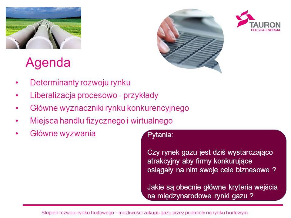 Agenda Determinanty rozwoju rynku Liberalizacja procesowo - przykłady Główne wyznaczniki rynku konkurencyjnego Miejsca handlu fizycznego i wirtualnego