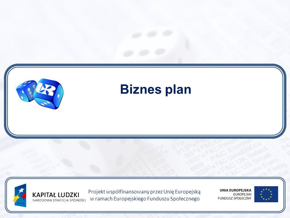 Biznes plan Projekt współfinansowany przez Unię Europejską w ramach Europejskiego Funduszu Społecznego