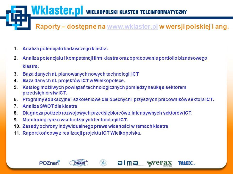 Raporty – dostępne na www.wklaster.pl w wersji polskiej i ang.www.wklaster.pl 1.Analiza potencjału badawczego klastra. 2.Analiza potencjału i kompeten