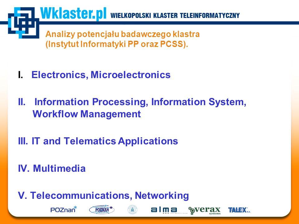 Analizy potencjału badawczego klastra (Instytut Informatyki PP oraz PCSS). I. Electronics, Microelectronics II. Information Processing, Information Sy