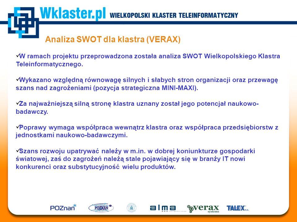 Analiza SWOT dla klastra (VERAX) W ramach projektu przeprowadzona została analiza SWOT Wielkopolskiego Klastra Teleinformatycznego. Wykazano względną