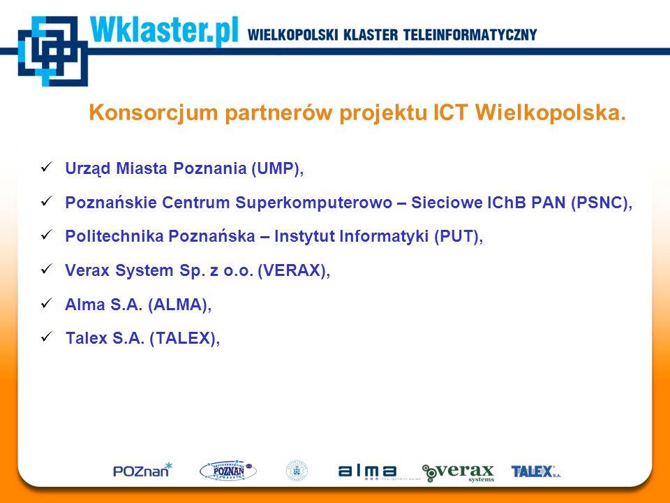 Konsorcjum partnerów projektu ICT Wielkopolska. Urząd Miasta Poznania (UMP), Poznańskie Centrum Superkomputerowo – Sieciowe IChB PAN (PSNC), Politechn