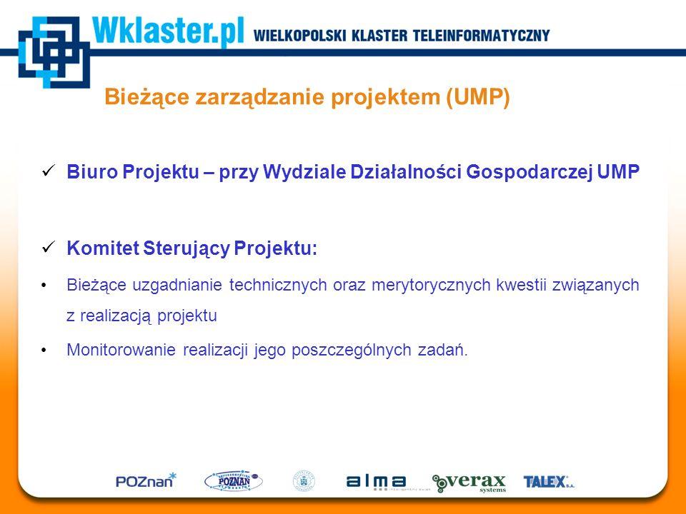 Bieżące zarządzanie projektem (UMP) Biuro Projektu – przy Wydziale Działalności Gospodarczej UMP Komitet Sterujący Projektu: Bieżące uzgadnianie techn