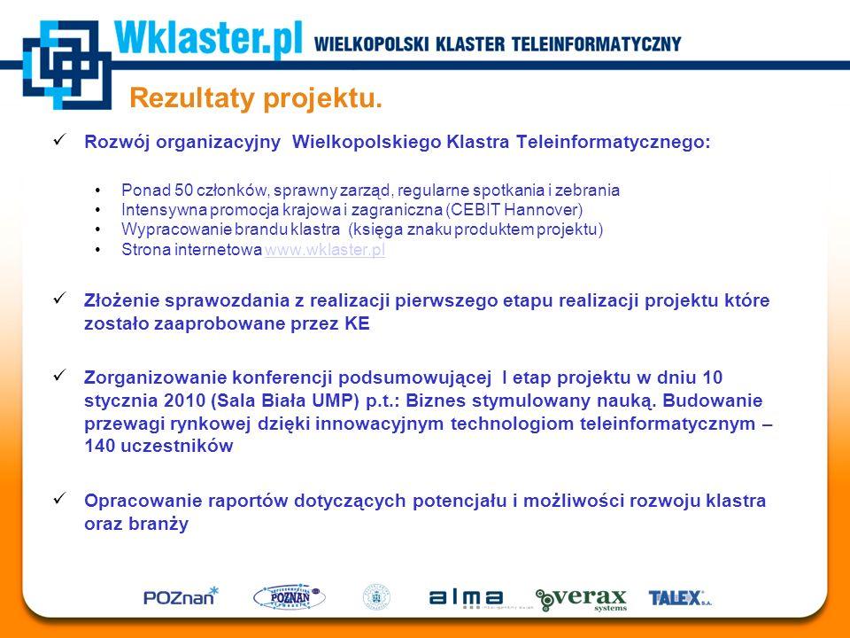 Rezultaty projektu. Rozwój organizacyjny Wielkopolskiego Klastra Teleinformatycznego: Ponad 50 członków, sprawny zarząd, regularne spotkania i zebrani