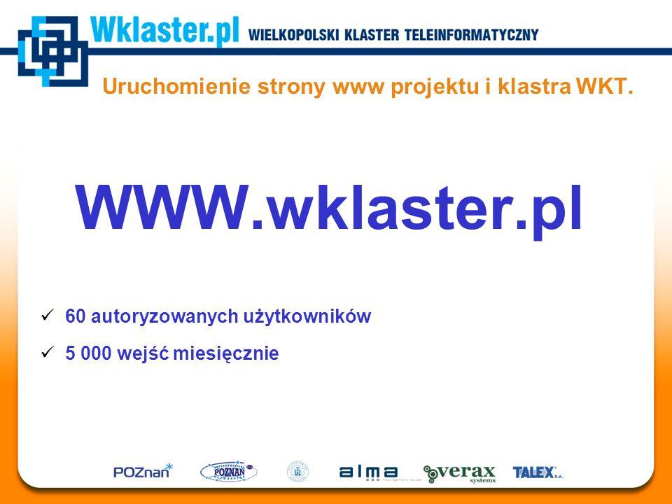 Uruchomienie strony www projektu i klastra WKT. WWW.wklaster.pl 60 autoryzowanych użytkowników 5 000 wejść miesięcznie
