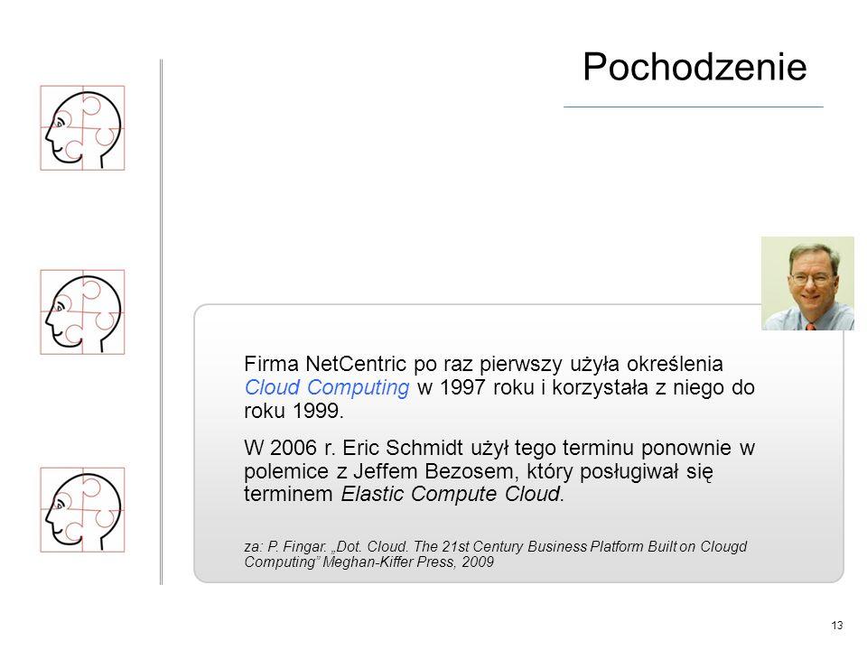 13 Firma NetCentric po raz pierwszy użyła określenia Cloud Computing w 1997 roku i korzystała z niego do roku 1999.