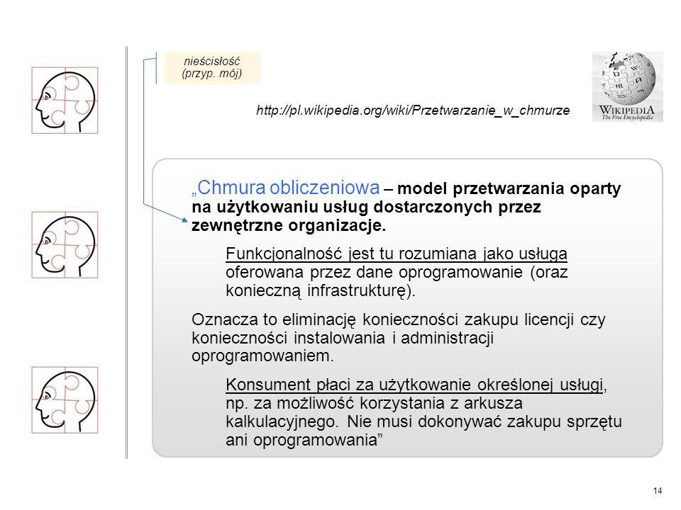 """14 """" Chmura obliczeniowa – model przetwarzania oparty na użytkowaniu usług dostarczonych przez zewnętrzne organizacje."""