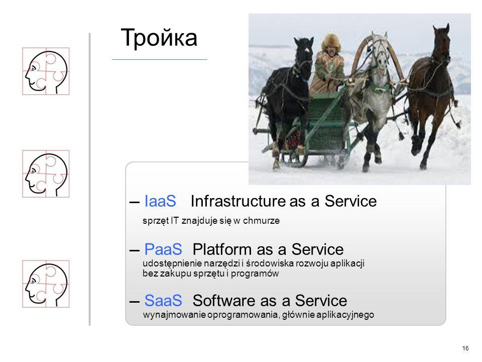 16 Тройка ─ IaaS Infrastructure as a Service sprzęt IT znajduje się w chmurze ─ PaaS Platform as a Service udostępnienie narzędzi i środowiska rozwoju aplikacji bez zakupu sprzętu i programów ─ SaaS Software as a Service wynajmowanie oprogramowania, głównie aplikacyjnego