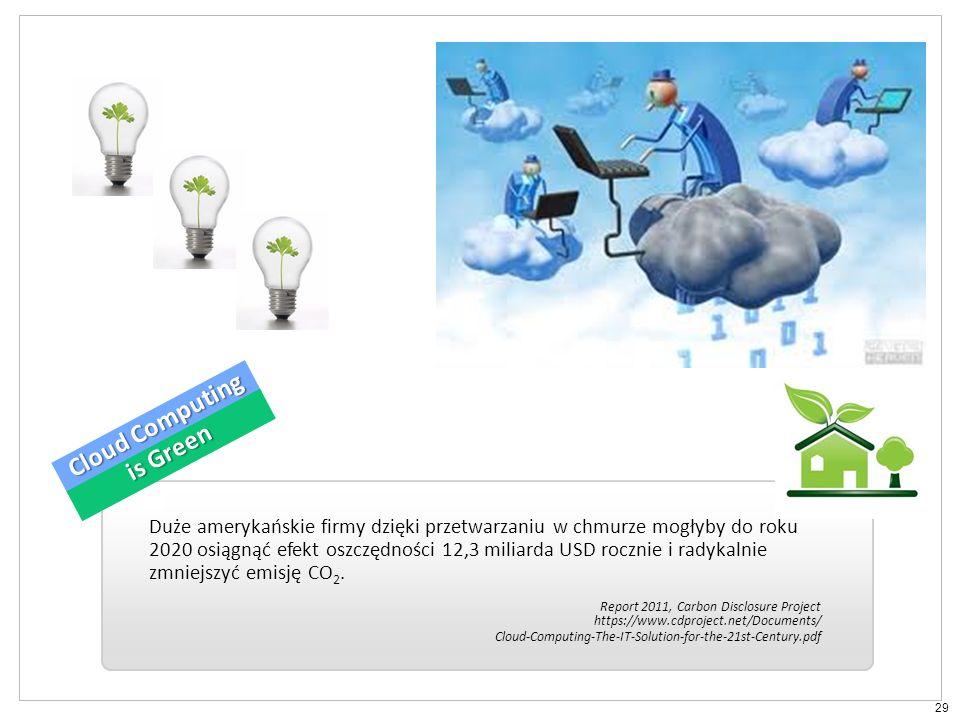29 Duże amerykańskie firmy dzięki przetwarzaniu w chmurze mogłyby do roku 2020 osiągnąć efekt oszczędności 12,3 miliarda USD rocznie i radykalnie zmniejszyć emisję CO 2.