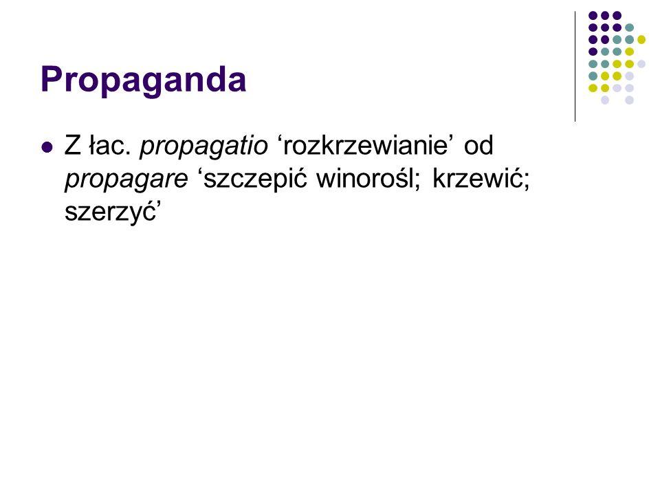 Propaganda Z łac. propagatio 'rozkrzewianie' od propagare 'szczepić winorośl; krzewić; szerzyć'