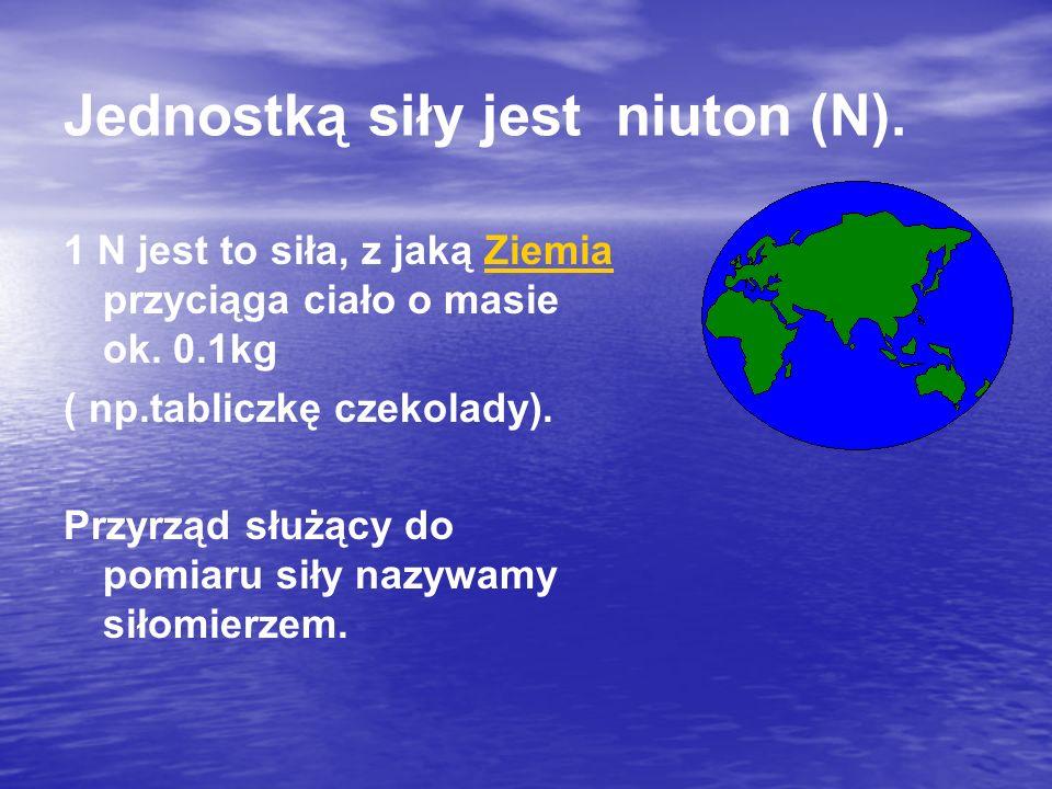 Jednostką siły jest niuton (N). 1 N jest to siła, z jaką Ziemia przyciąga ciało o masie ok.
