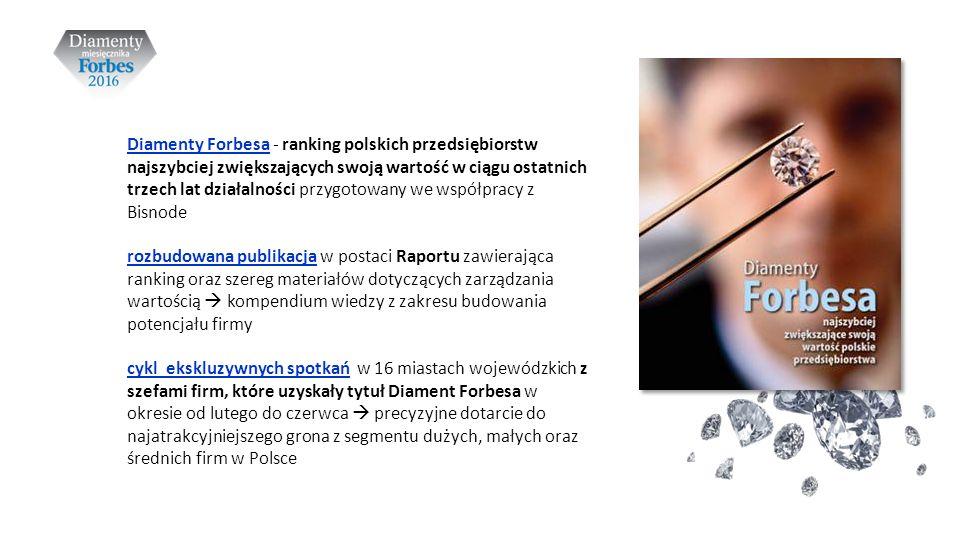 Diamenty Forbesa - ranking polskich przedsiębiorstw najszybciej zwiększających swoją wartość w ciągu ostatnich trzech lat działalności przygotowany we współpracy z Bisnode rozbudowana publikacja w postaci Raportu zawierająca ranking oraz szereg materiałów dotyczących zarządzania wartością  kompendium wiedzy z zakresu budowania potencjału firmy cykl ekskluzywnych spotkań w 16 miastach wojewódzkich z szefami firm, które uzyskały tytuł Diament Forbesa w okresie od lutego do czerwca  precyzyjne dotarcie do najatrakcyjniejszego grona z segmentu dużych, małych oraz średnich firm w Polsce