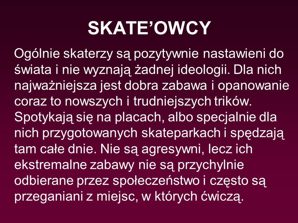 SKATE'OWCY Ogólnie skaterzy są pozytywnie nastawieni do świata i nie wyznają żadnej ideologii. Dla nich najważniejsza jest dobra zabawa i opanowanie c