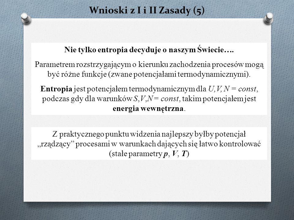 Wnioski z I i II Zasady (5) Nie tylko entropia decyduje o naszym Świecie….