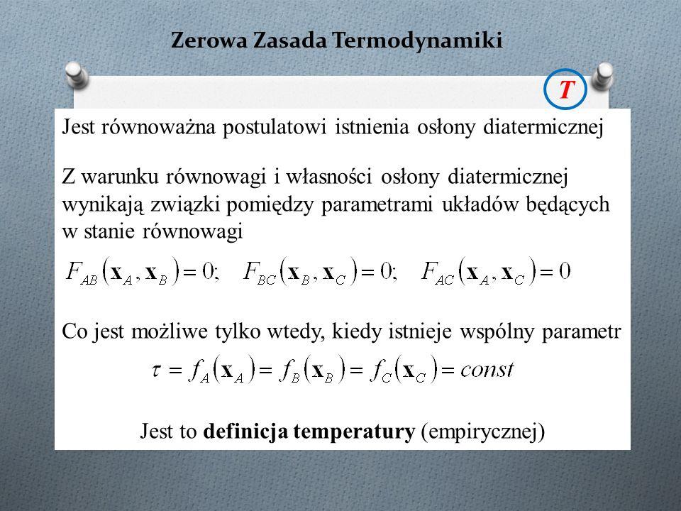 Zerowa Zasada Termodynamiki Jest równoważna postulatowi istnienia osłony diatermicznej Z warunku równowagi i własności osłony diatermicznej wynikają związki pomiędzy parametrami układów będących w stanie równowagi Co jest możliwe tylko wtedy, kiedy istnieje wspólny parametr Jest to definicja temperatury (empirycznej) T