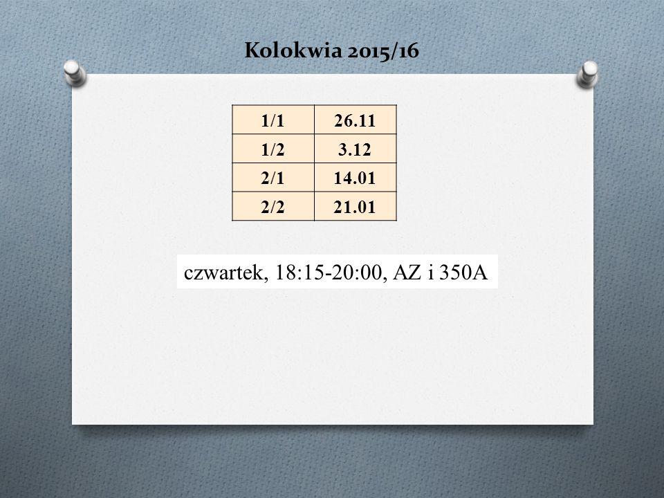 Kolokwia 2015/16 czwartek, 18:15-20:00, AZ i 350A 1/126.11 1/23.12 2/114.01 2/221.01