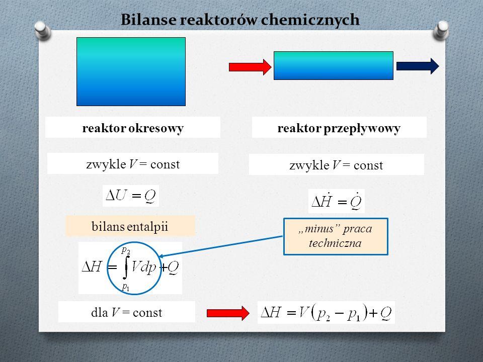 """Bilanse reaktorów chemicznych reaktor okresowy zwykle V = const """"minus praca techniczna reaktor przepływowy zwykle V = const bilans entalpii dla V = const"""