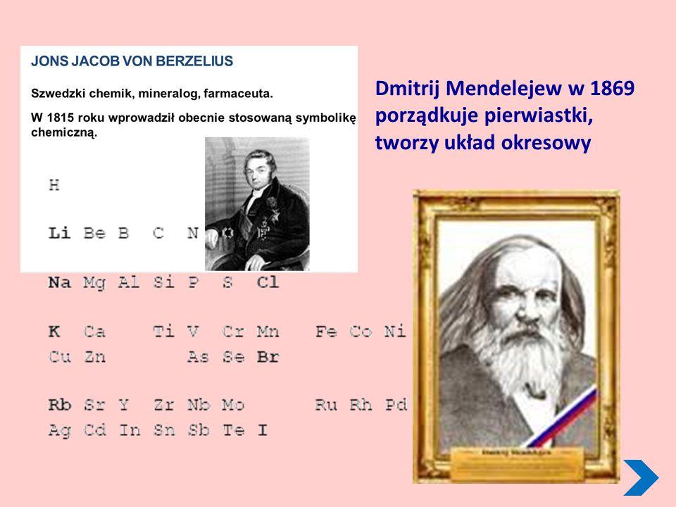 Dmitrij Mendelejew w 1869 porządkuje pierwiastki, tworzy układ okresowy