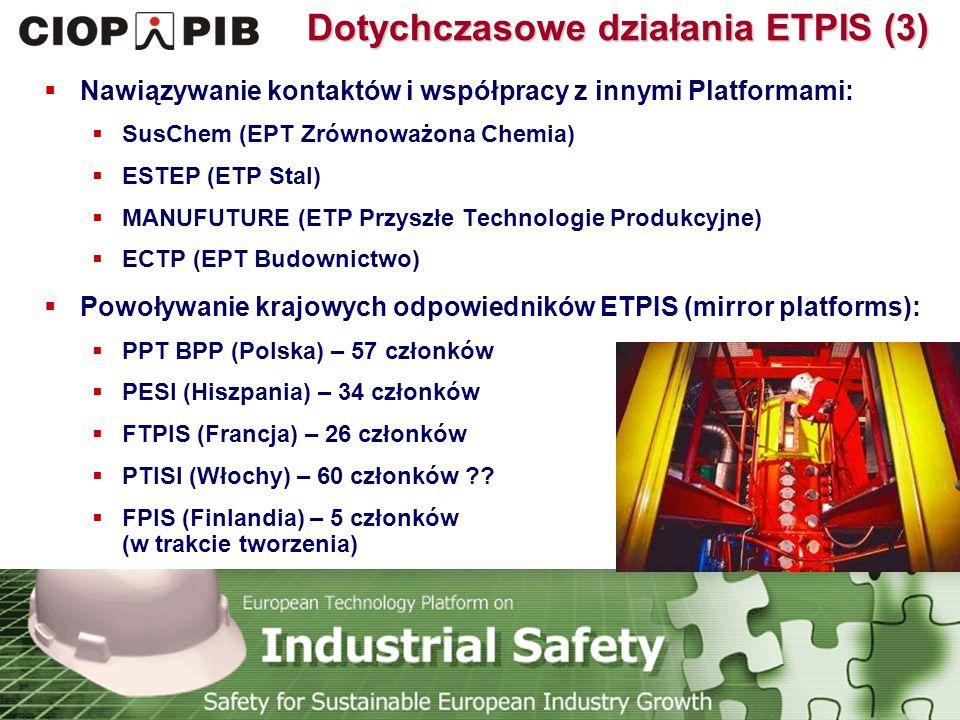 Technology Platform Safety for Sustainable European Industry Growth Dotychczasowe działania ETPIS (3)  Nawiązywanie kontaktów i współpracy z innymi Platformami:  SusChem (EPT Zrównoważona Chemia)  ESTEP (ETP Stal)  MANUFUTURE (ETP Przyszłe Technologie Produkcyjne)  ECTP (EPT Budownictwo)  Powoływanie krajowych odpowiedników ETPIS (mirror platforms):  PPT BPP (Polska) – 57 członków  PESI (Hiszpania) – 34 członków  FTPIS (Francja) – 26 członków  PTISI (Włochy) – 60 członków ?.