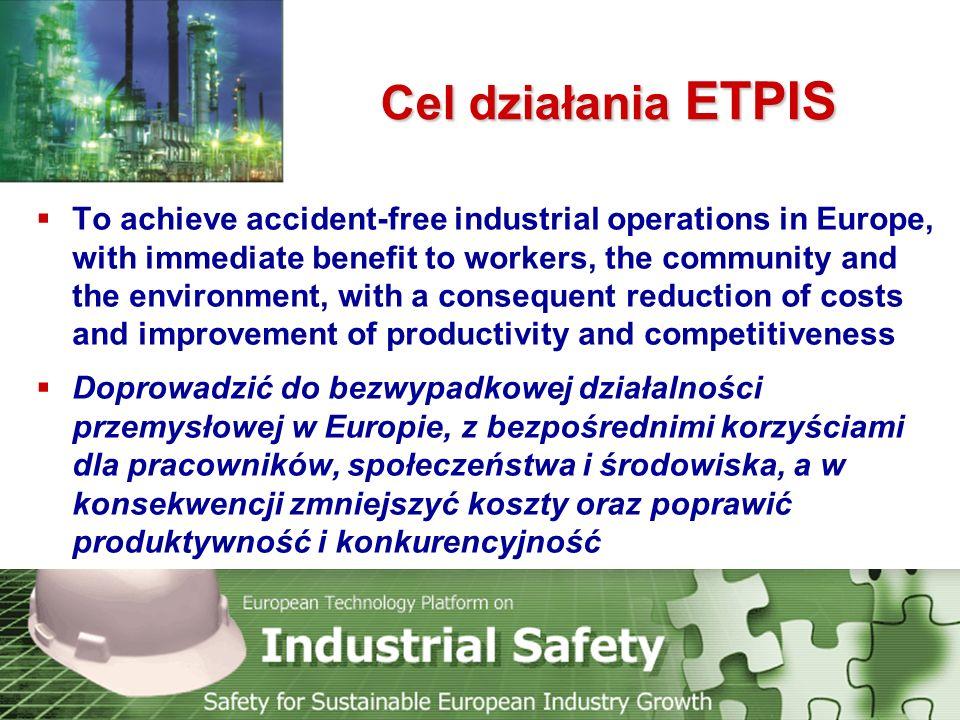 Technology Platform Safety for Sustainable European Industry Growth Zakres tematyczny ETPIS  Bezpieczeństwo i higiena pracowników zatrudnionych w przemyśle  Bezpieczeństwo środowiskowe związane z zapobieganiem poważnym awariom przemysłowym z konsekwencjami dla ludności i środowiska (Seveso II)