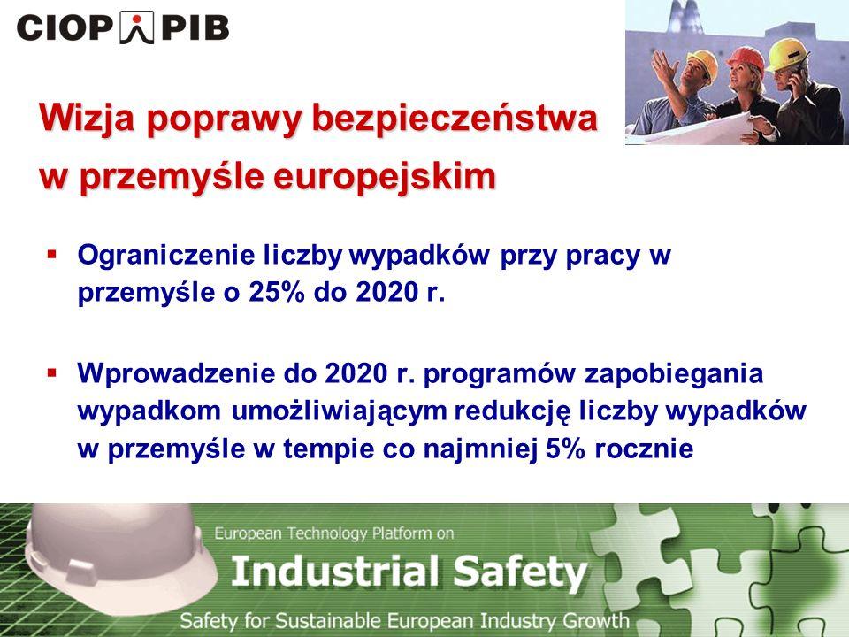 Technology Platform Safety for Sustainable European Industry Growth Wizja poprawy bezpieczeństwa w przemyśle europejskim  Ograniczenie liczby wypadków przy pracy w przemyśle o 25% do 2020 r.