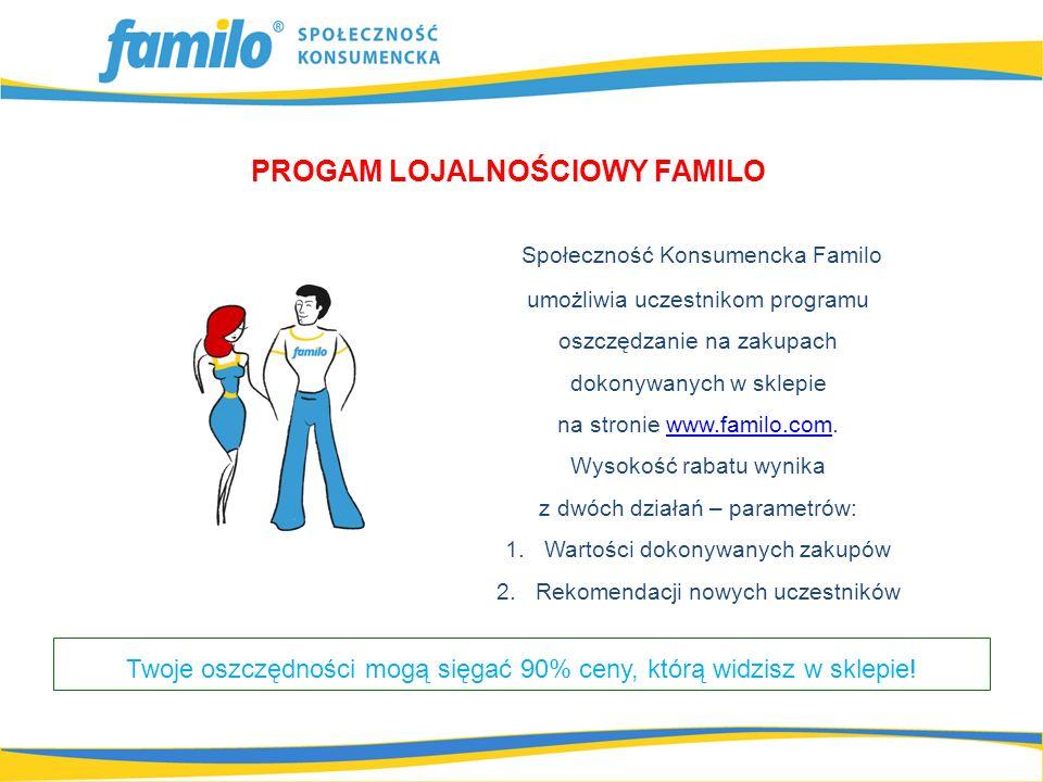 PROGAM LOJALNOŚCIOWY FAMILO Społeczność Konsumencka Familo umożliwia uczestnikom programu oszczędzanie na zakupach dokonywanych w sklepie na stronie www.familo.com.www.familo.com Wysokość rabatu wynika z dwóch działań – parametrów: 1.Wartości dokonywanych zakupów 2.Rekomendacji nowych uczestników Twoje oszczędności mogą sięgać 90% ceny, którą widzisz w sklepie!