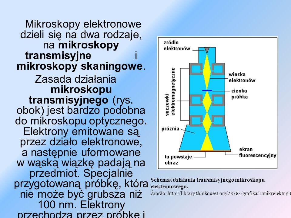 Mikroskopy elektronowe dzieli się na dwa rodzaje, na mikroskopy transmisyjne i mikroskopy skaningowe.