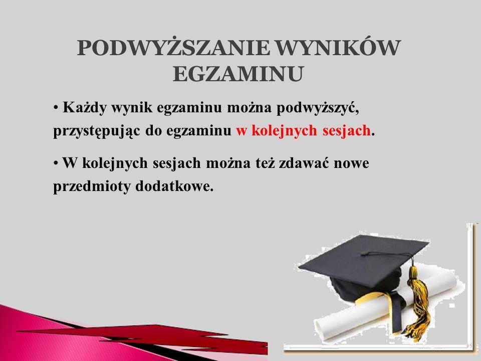 PODWYŻSZANIE WYNIKÓW EGZAMINU Każdy wynik egzaminu można podwyższyć, przystępując do egzaminu w kolejnych sesjach. W kolejnych sesjach można też zdawa