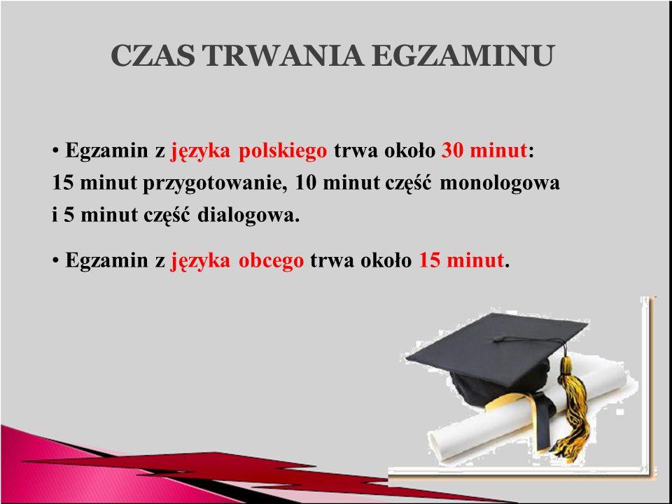 CZAS TRWANIA EGZAMINU Egzamin z języka polskiego trwa około 30 minut: 15 minut przygotowanie, 10 minut część monologowa i 5 minut część dialogowa. Egz