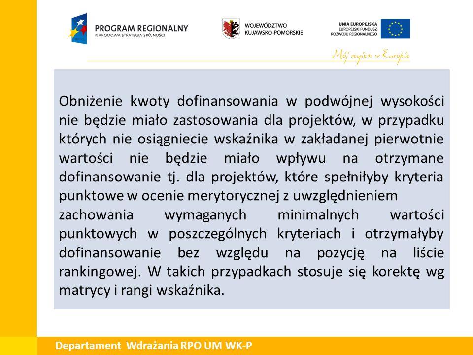 Departament Wdrażania RPO UM WK-P Obniżenie kwoty dofinansowania w podwójnej wysokości nie będzie miało zastosowania dla projektów, w przypadku któryc