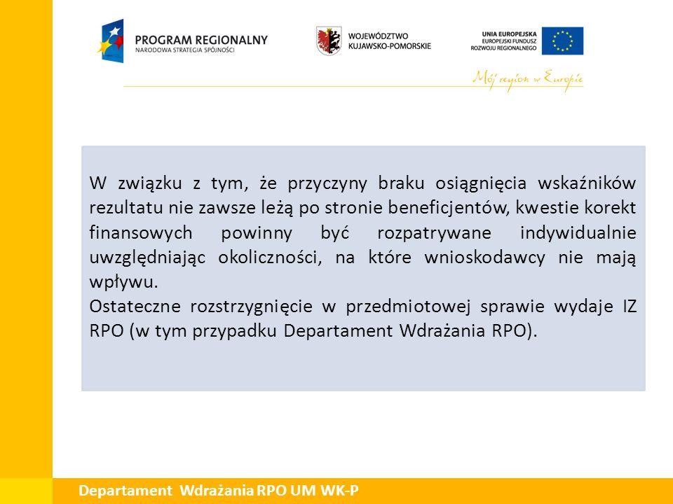 Departament Wdrażania RPO UM WK-P W związku z tym, że przyczyny braku osiągnięcia wskaźników rezultatu nie zawsze leżą po stronie beneficjentów, kwest