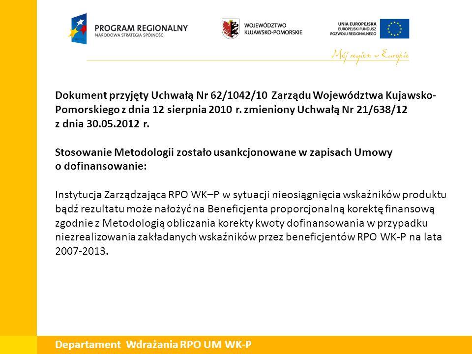 Departament Wdrażania RPO UM WK-P Dokument przyjęty Uchwałą Nr 62/1042/10 Zarządu Województwa Kujawsko- Pomorskiego z dnia 12 sierpnia 2010 r.zmienion