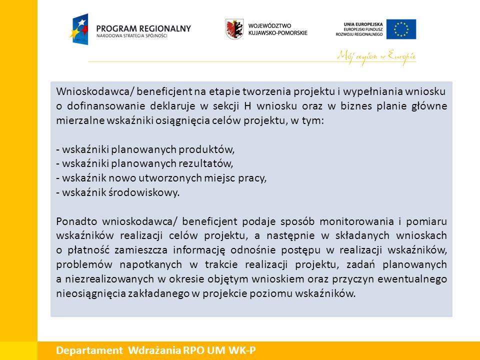 Departament Wdrażania RPO UM WK-P Przykład: Faktyczny przyrost: 2,1 mln zł, wykonanie: 70% H.1 Wskaźniki realizacji celów projektu Lp.