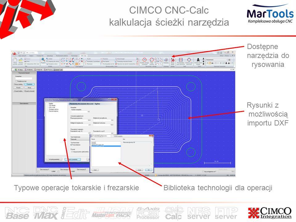 CIMCO CNC-Calc kalkulacja ścieżki narzędzia Rysunki z możliwością importu DXF Typowe operacje tokarskie i frezarskieBiblioteka technologii dla operacji Dostępne narzędzia do rysowania