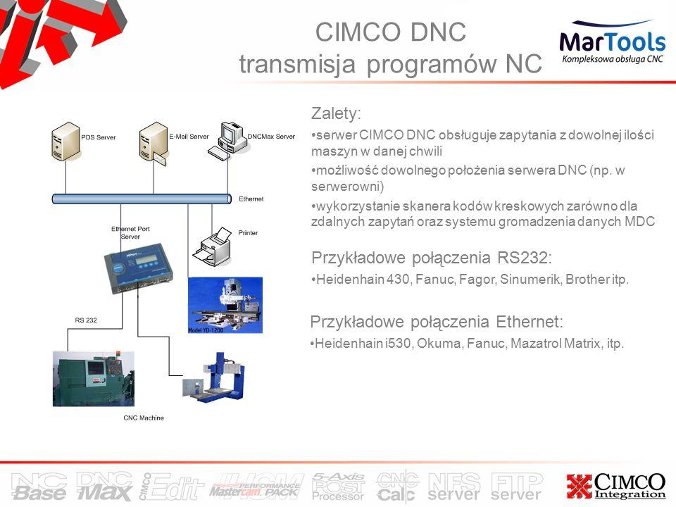 CIMCO DNC transmisja programów NC Zalety: serwer CIMCO DNC obsługuje zapytania z dowolnej ilości maszyn w danej chwili możliwość dowolnego położenia serwera DNC (np.