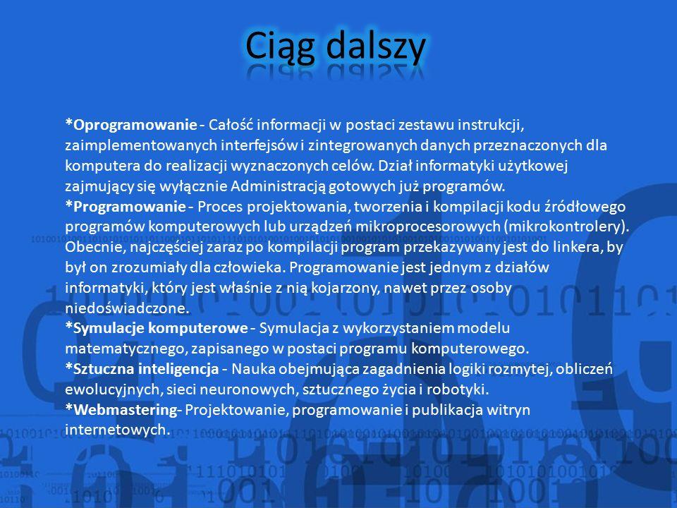 *Oprogramowanie - Całość informacji w postaci zestawu instrukcji, zaimplementowanych interfejsów i zintegrowanych danych przeznaczonych dla komputera do realizacji wyznaczonych celów.