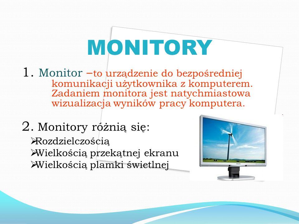 MONITORY 1. Monitor – to urządzenie do bezpośredniej komunikacji użytkownika z komputerem.